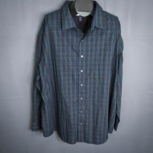 Van Heusen Mens Shirt Black Green Size 4XL Plaid